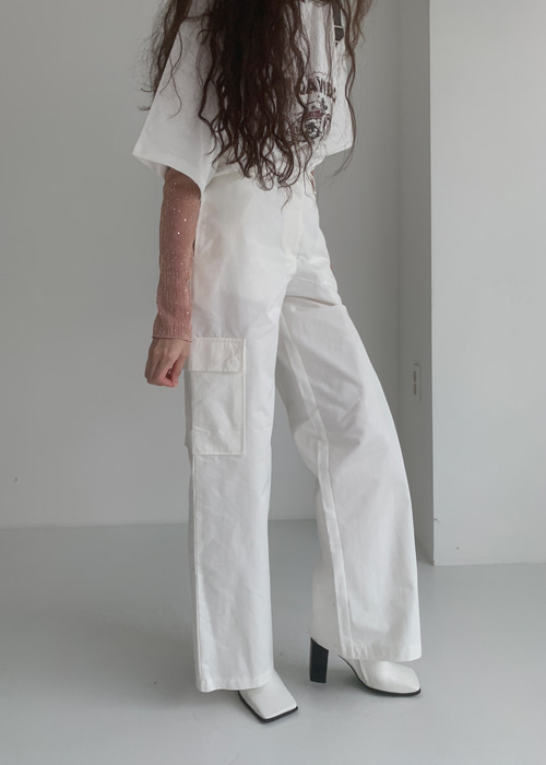 WIDE CARGO PANTS(WHITE, DARK GREY 2COLORS!)