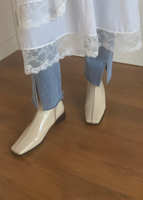 SQUARE SHORT BOOTS (WHITE, BEIGE, PHYTHON, BLACK 4COLORS!)