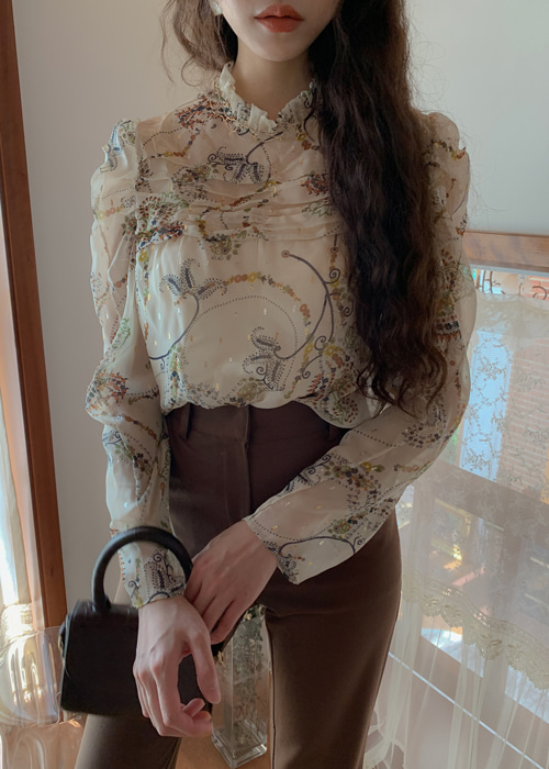 ROYAL FLORAL HIGH-NECK SHIRRING BLOUSE(IVORY, GREEN 2COLORS!)
