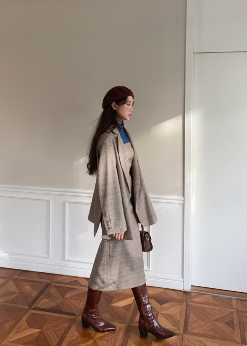 MARCO CHECK JACKET TUBE TOP DRESS SET UP(BEIGE, BROWN 2COLORS!)(*개별구매가능!*)