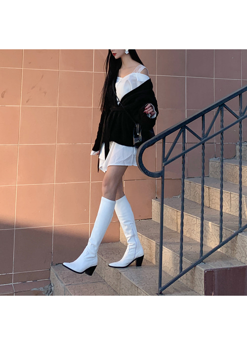 90'S LEATHER LONG BOOTS(WHITE, CAMEL, BLACK 3COLORS!)