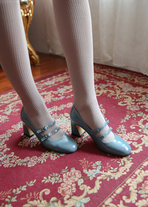 LEATHER ENAMEL ROUND STRAP SHOES(BEIGE, PINK, BLUE, BLACK 4COLORS!)
