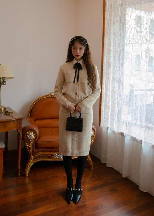 BUTTON TWEED KNIT CARDIGAN SKIRT SET(IVORY, PINK, BLACK 3COLORS!)(개별구매가능!)