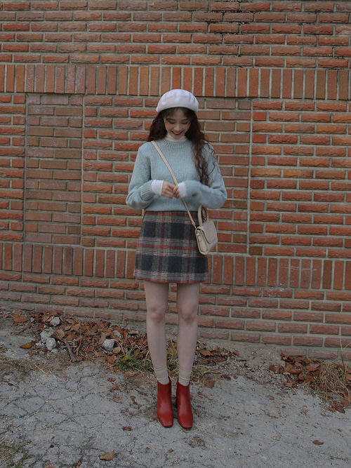 90'S WOOL CHECK MINI SKIRT(IVORY, BEIGE, BROWN, GREY 4COLORS!)