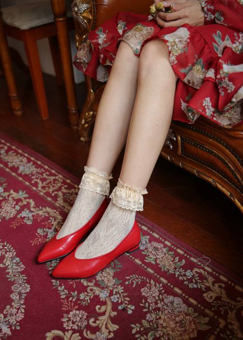 POINTED LEATHER FLAT SHOES(WHITE, YELLOW, RED, BLACK 4COLORS!)