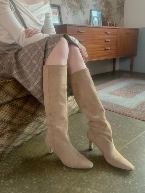SUEDE WESTERN HEEL LONG BOOTS(BEIGE, BLACK 2COLORS!)