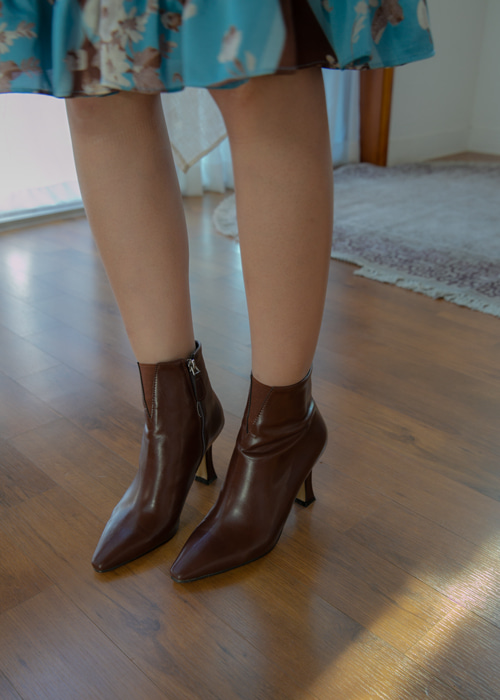 POINTED BAND HEEL BOOTS(IVORY, BROWN, BLACK 3COLORS!)