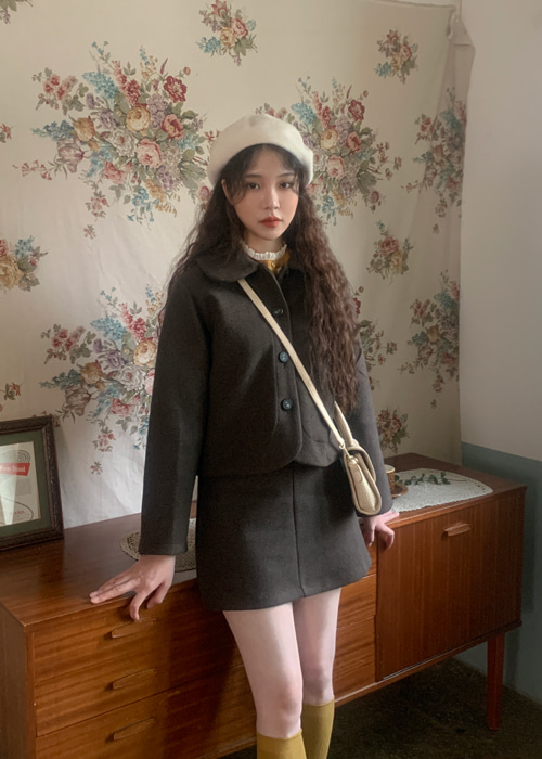 (WOOL 30%) CLASSIC MUTE TONE JACKET SKIRT SET(IVORY, BEIGE, GREY, BROWN, BLACK 5COLORS!)(*개별구매가능!*)