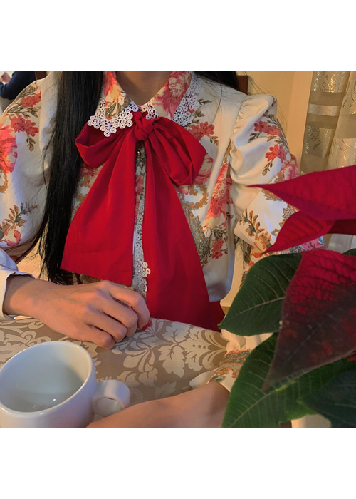 LACE COLLAR RED RIBBON BLOUSE(IVORY, BLACK 2COLORS!)