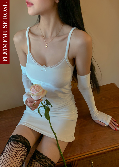 ❀FEMMEMUSE ROSE❀MIMI VELVET LACE RIBBON WARMER SET(WHITE)