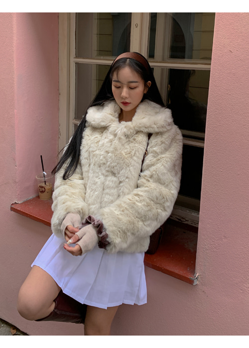 FUR COLLAR SHORT COAT(CREAM, BEIGE 2COLORS!)
