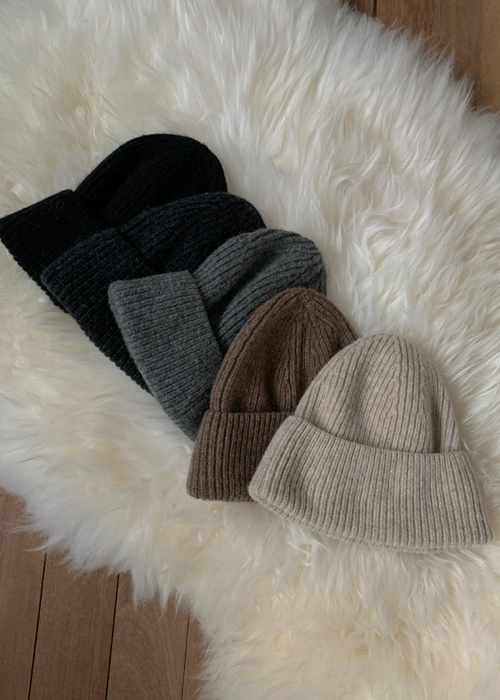 WOOL BEANIE(BEIGE, BROWN, GREY, DARK GREY, BLACK 5COLORS!)