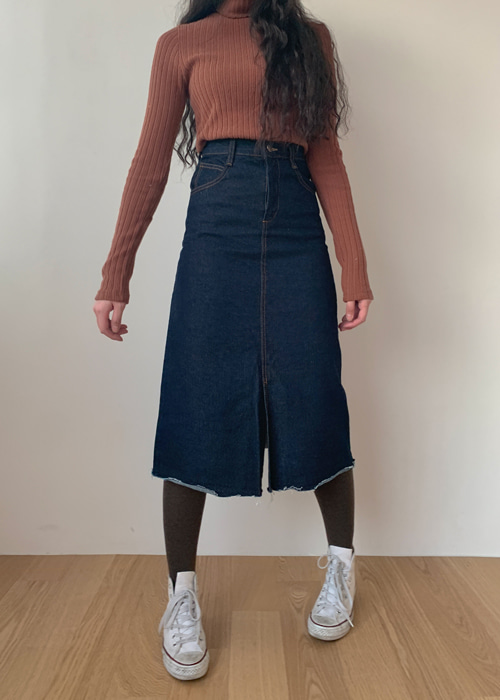 INDIGO DENIM LONG SKIRT(INDIGO BLUE WASH, BLACK WASH 2COLORS!)