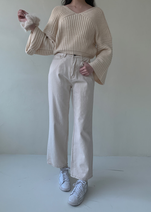 COTTON STRAIGHT WIDE PANTS(IVORY, BEIGE, BROWN, BLACK 4COLORS!)