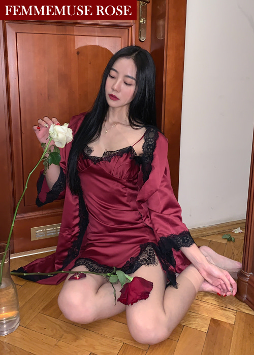 ❀FEMMEMUSE ROSE❀ {LIMITED COLLECTION} FEMME ROMANTIQUE LACE SLIP DRESS ROBE SET(PINK, BURGUDNY, BLACK 3COLORS!)(*개별구매가능!*)