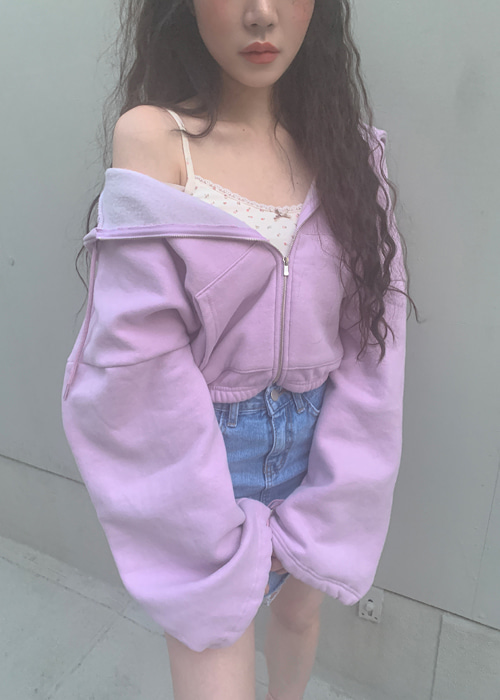 OVERSIZE STRING CROP HOODY(LIME, VIOLET, GREY, BLACK 4COLORS!)