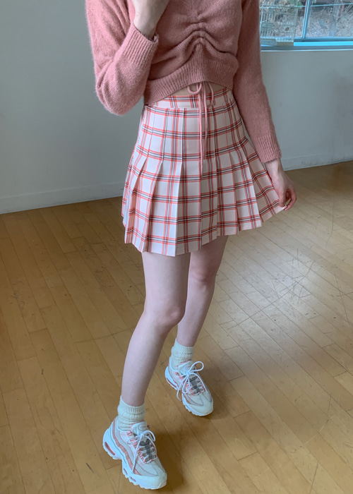 RETRO 90'S CHECK TENNIS SKIRT(BEIGE, PINK, NAVY 3COLORS!)