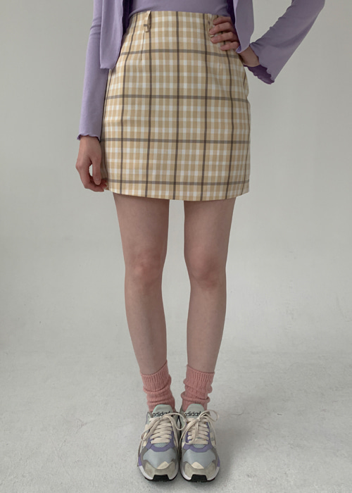 MANDY CHECK MINI SKIRT(BEIGE, PINK, BLACK 3COLORS!)