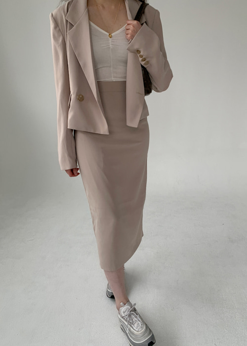 CLASSIC MOOD CROP JACKET SKIRT SET UP(BEIGE, BLACK 2COLORS!)