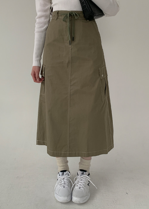 STITCH CARGO SKIRT(KHAKI, GREY, BLACK 3COLORS!)
