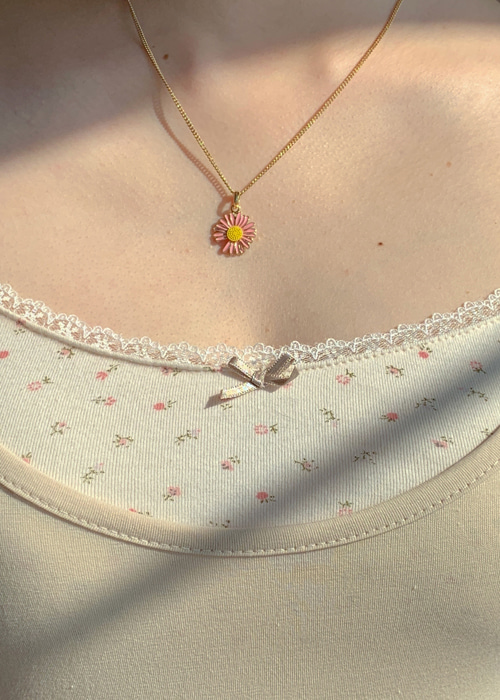 DAISY NECKLACE(WHITE(GOLD), YELLOW(GOLD), PINK(GOLD), VIOLET(SILVER), BLUISH GREEN(SILVER) 5COLORS!)