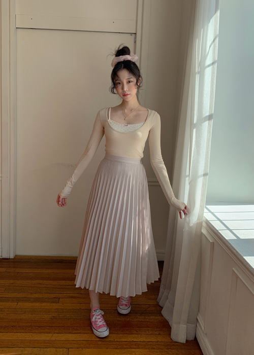 PASTEL LONG PLEATS SKIRT(BEIGE, PINK, MINT, BLACK 4COLORS!)