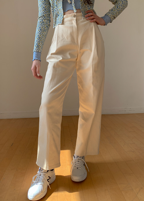 COTTON PINTUCK WIDE PANTS(NATURAL, BEIGE, BLACK 3COLORS!)