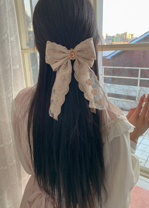 ROYAL LACE RIBBON HAIR PIN(BEIGE, BLACK 2COLORS!)
