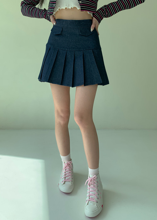 HIGH-TEEN POCKET PLEATS SKIRT(IVORY, BLUE 2COLORS!)