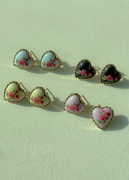 ROSE FRAME HEART EARRING(YELLOW, PINK, SKY BLUE, BLACK 4COLORS!)