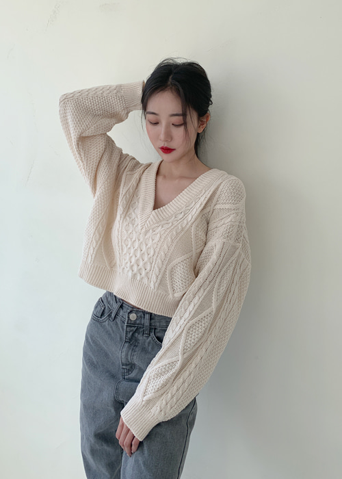 TWIST V-NECK CROP LOOSE KNIT(9COLORS!)