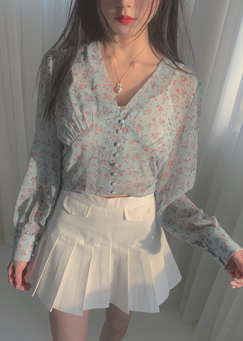 BUTTON SEE-THROUGH FLOWER BLOUSE(IVORY, MINT, BLACK 3COLORS!)