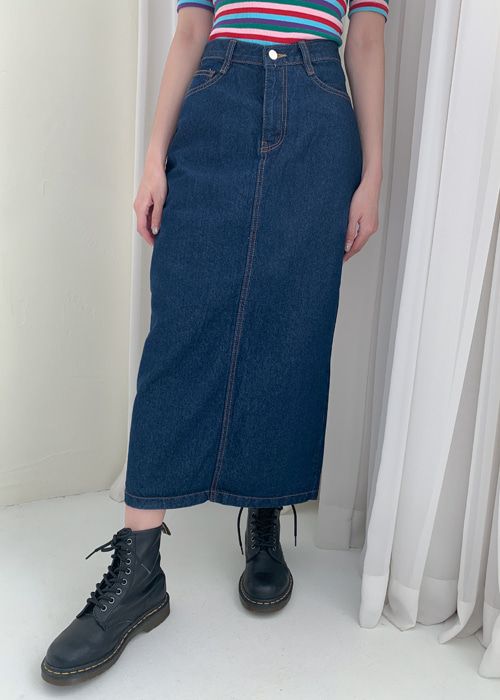 H-LINE DENIM LONG SKIRT(BLUE WASH, BLACK WASH 2COLORS!)