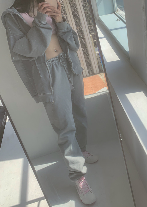 UNISEX VINTAGE WASHING HOODY JOGGER PANTS SET(GREY, BLACK 2COLORS!)(*개별구매가능!*)
