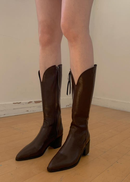 POINTED WESTERN LONG BOOTS(IVORY, BROWN, BLACK 3COLORS!)