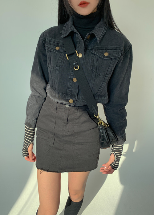 90'S CROP DENIM JACKET(CREAM, BLUE, BLACK 3COLORS!)