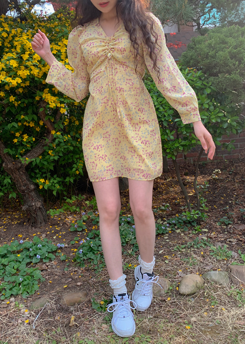 LORA SHIRRING FLOWER DRESS(IVORY, YELLOW 2COLORS!)