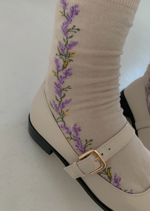 LINE FLOWER SOCKS(BEIGE, KHAKI, BROWN, BLACK 4COLORS!)