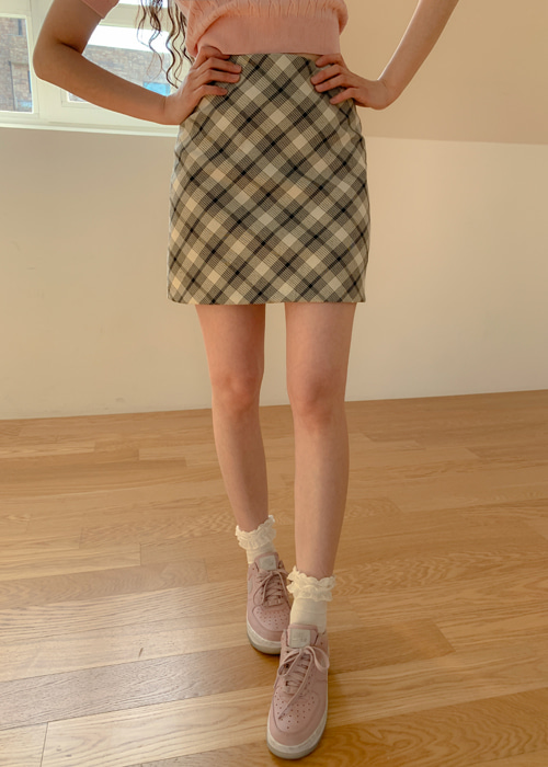 ELEGANT CHECK MINI SKIRT(BROWN, BLACK 2COLORS!)