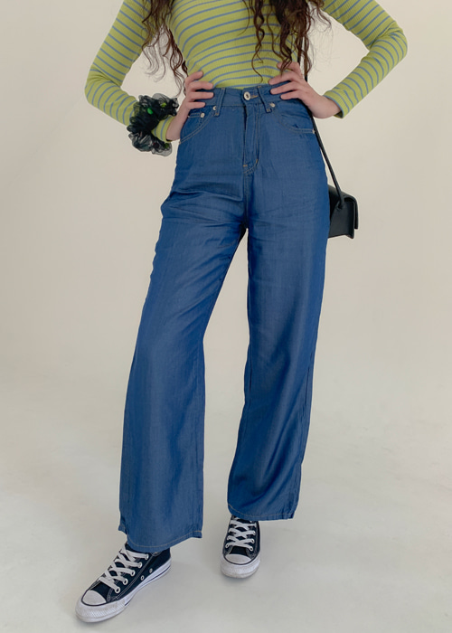 TENCEL STITCH STRAIGHT PANTS(MEDIUM WASH, 2COLORS!)
