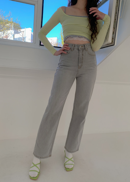 GREY WASH STRAIGHT PANTS