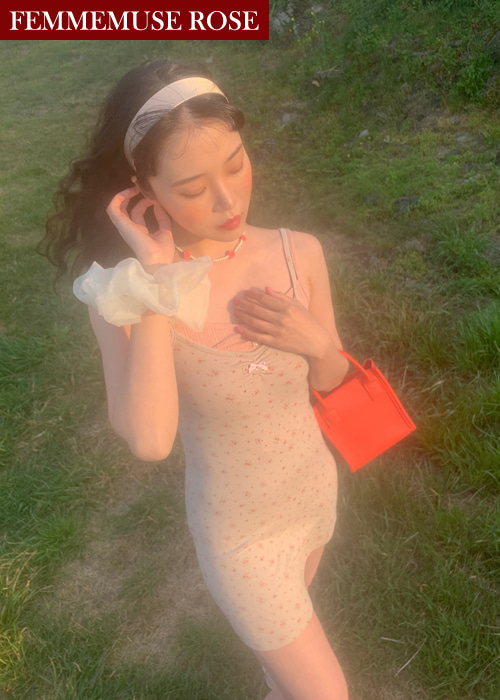 ❀FEMMEMUSE ROSE❀ MARIANNE FLEUR RIBBON SLIP DRESS(PINK, GREY 2COLORS!)