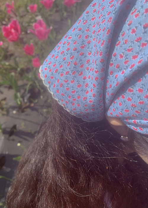 GARDEN FLOWER SCARF(PINK, SKY BLUE, BLUE, MINT 4COLORS!)