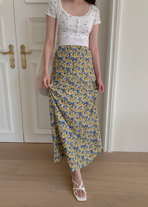 MAXI VINTAGE FLOWER SKIRT(YELLOW, VIOLET 2COLORS!)