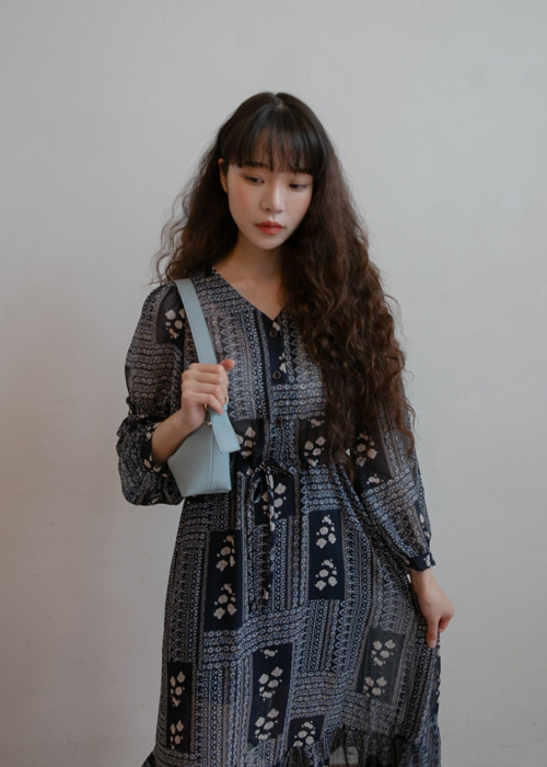 VANESSA ANTIQUE PATTERN DRESS(NAVY)