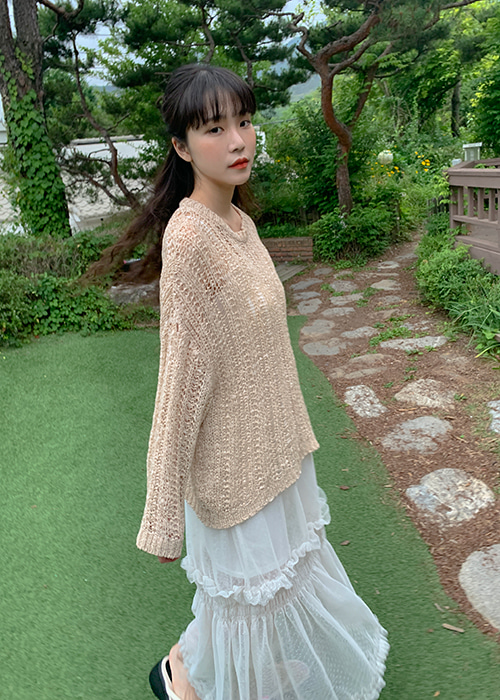 SUMMER NET LOOSE LONG KNIT(BEIGE, YELLOW, ORANGE, SKYBLUE, BLACK 5COLORS!)