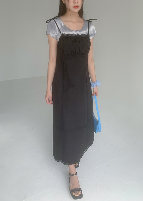 LACE RIBBON TIE MAXI DRESS(BLACK)