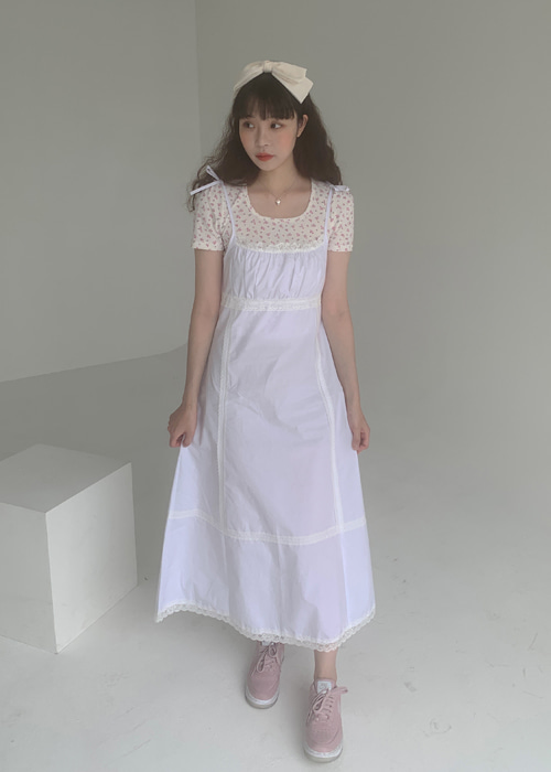 LACE RIBBON TIE MAXI DRESS(WHITE)
