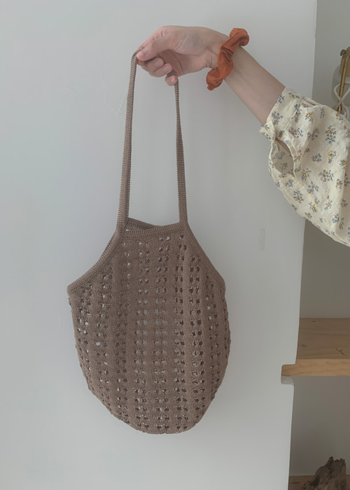 PUNCHING KNIT BAG(CREAM, LIGHT PURPLE, BROWN, BLACK 4COLORS!)