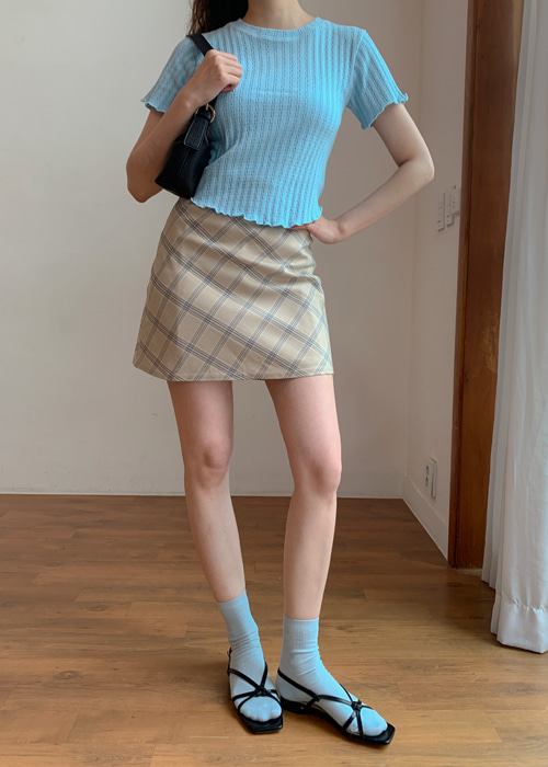 HEIZLE CHECK MINI SKIRT(ORANGE, NAVY 2COLORS!)